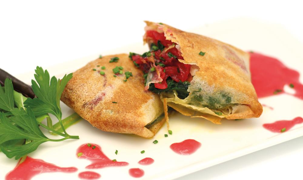Croustillant de foie gras aux épinards compotée d'oignons à la grenadine - Vincent Cugnet - Au Veau qui Tête - Rungis